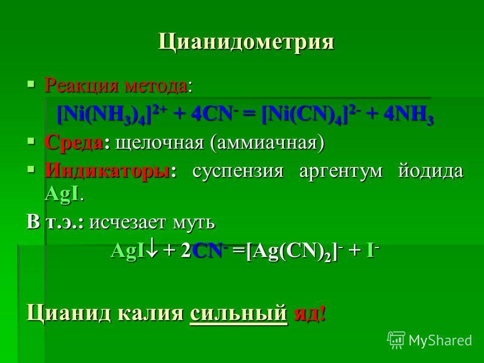 Цианидометрия Реакция метода: Реакция метода: [Ni(NH 3 ) 4 ] 2+ + 4CN - = [Ni(CN) 4 ] 2- + 4NH 3 Среда: щелочная (аммиачная) Среда: щелочная (аммиачная) Индикаторы: суспензия аргентум йодида AgI. Индикаторы: суспензия аргентум йодида AgI. В т.э.: исч