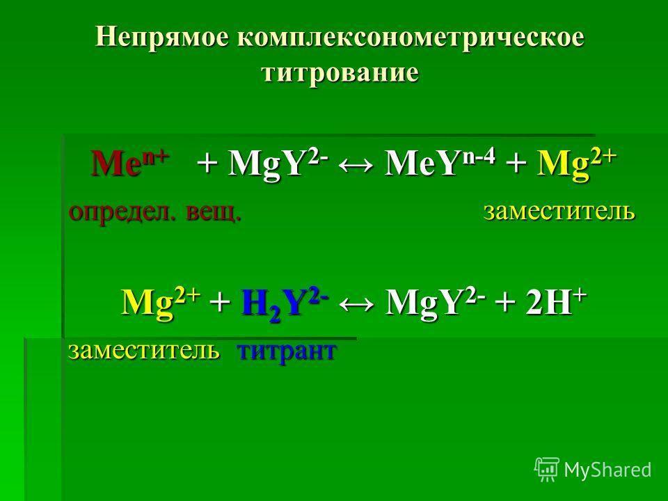Непрямое комплексонометрическое титрование Ме n+ + МgY 2- МеY n-4 + Мg 2+ определ. вещ. заместитель Мg 2+ + Н 2 Y 2- МgY 2- + 2Н + заместитель титрант