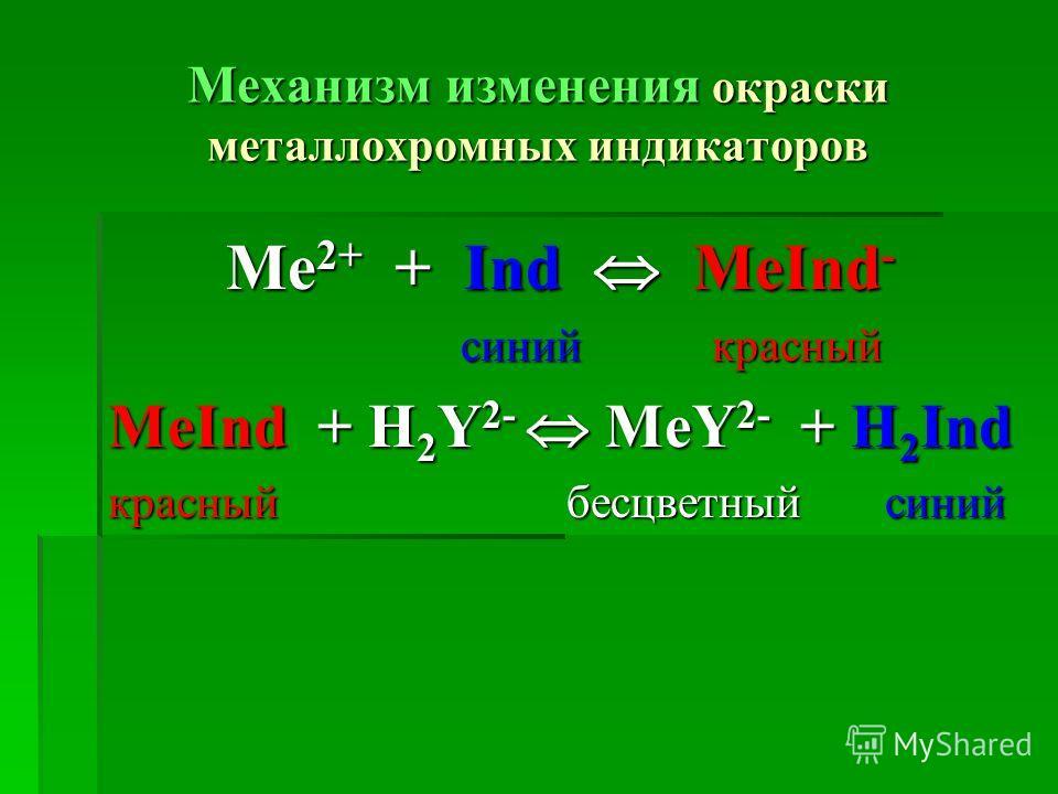 Механизм изменения окраски металлохромных индикаторов Me 2+ + Іnd MeІnd - синий красный синий красный MeІnd + H 2 Y 2- MeY 2- + H 2 Іnd красный бесцветный синий
