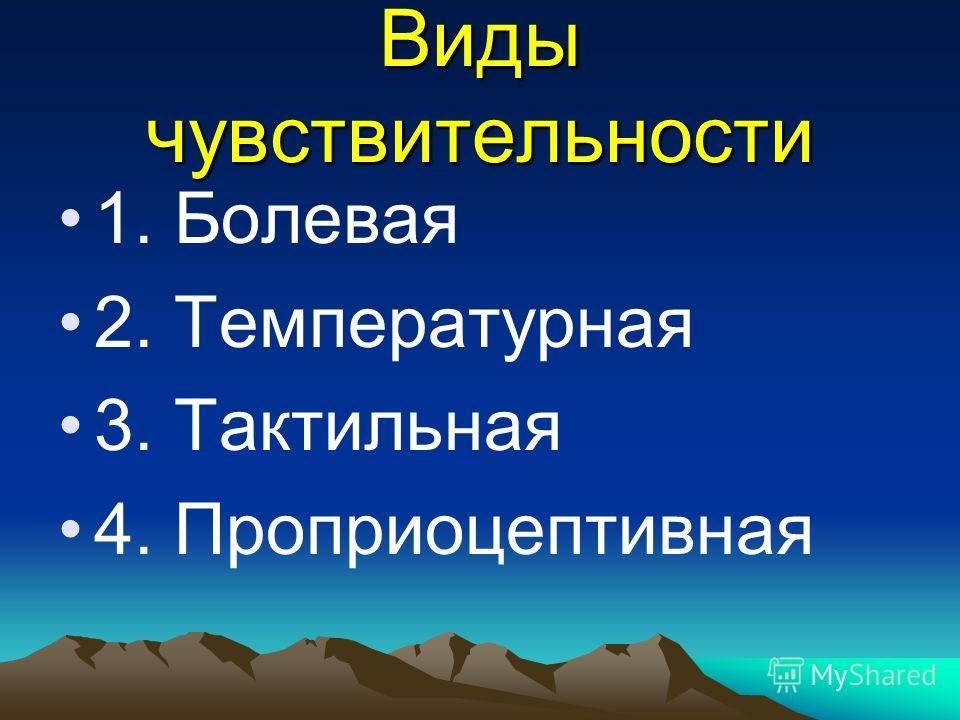 Виды чувствительности 1. Болевая 2. Температурная 3. Тактильная 4. Проприоцептивная