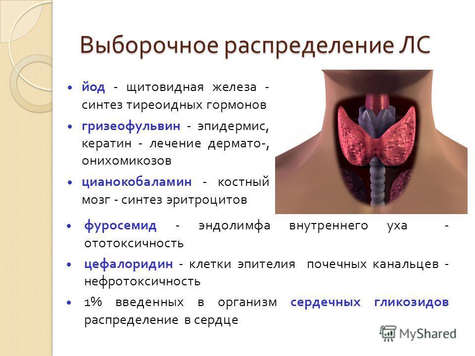 Выборочное распределение ЛС йод - щитовидная железа - синтез тиреоидных гормонов гризеофульвин - эпидермис, кератин - лечение дермато -, онихомикозов цианокобаламин - костный мозг - синтез эритроцитов фуросемид - эндолимфа внутреннего уха - ототоксич