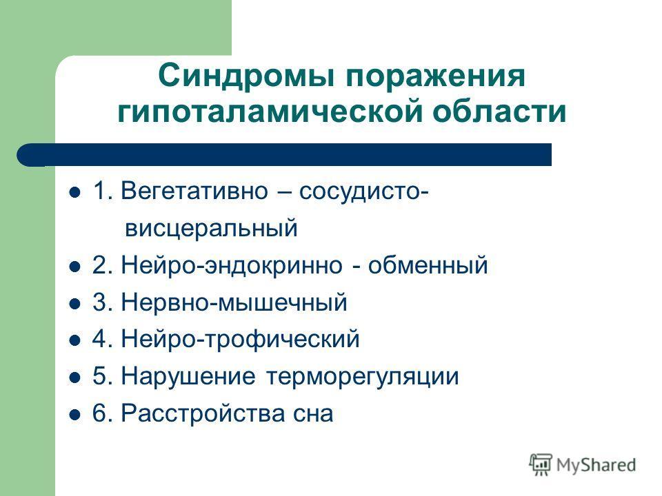 Синдромы поражения гипоталамической области 1. Вегетативно – сосудисто- висцеральный 2. Нейро-эндокринно - обменный 3. Нервно-мышечный 4. Нейро-трофический 5. Нарушение терморегуляции 6. Расстройства сна