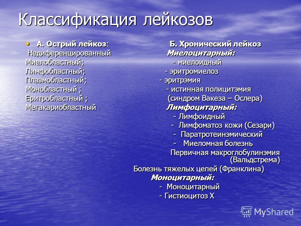 Классификация лейкозов А. Острый лейкоз: Б. Хронический лейкоз А. Острый лейкоз: Б. Хронический лейкоз Недиференцированный Миелоцитарный: Недиференцированный Миелоцитарный: Миелобластный; - миелоидный Лимфобластный; - эритромиелоз Плазмобластный; - э