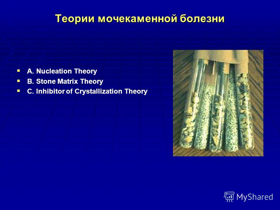 Теории мочекаменной болезни A. Nucleation Theory B. Stone Matrix Theory C. Inhibitor of Crystallization Theory