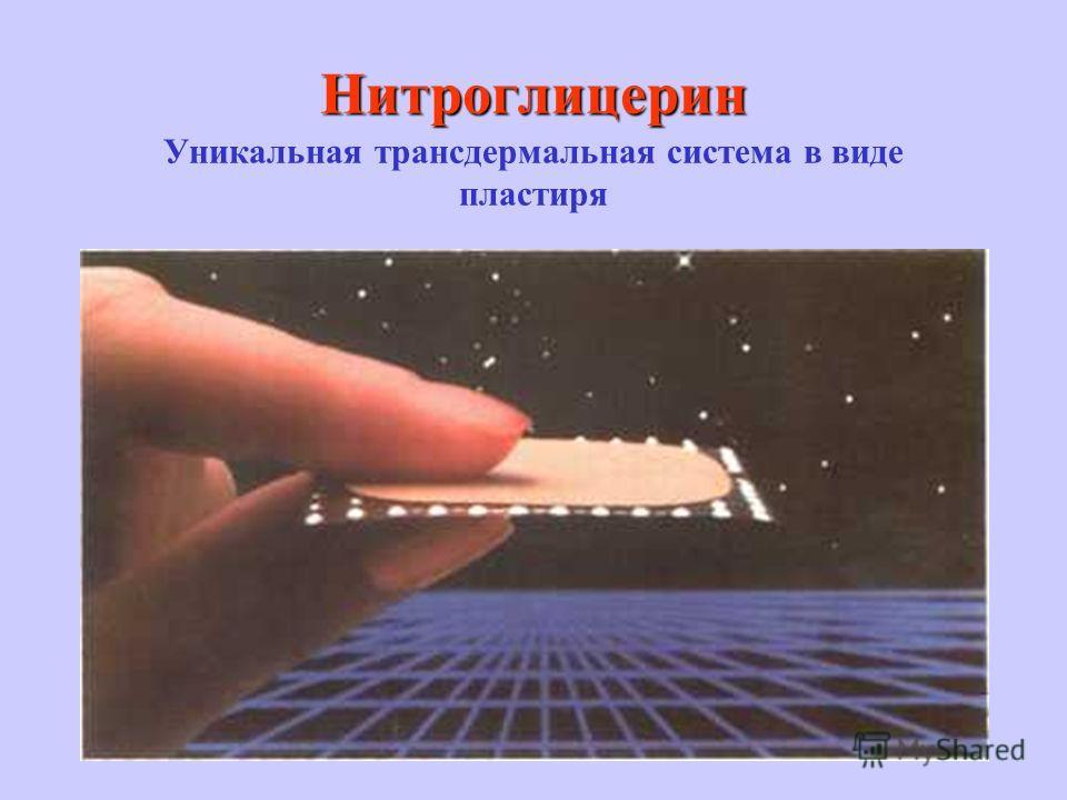 Нитроглицерин Нитроглицерин Уникальная трансдермальная система в виде пластиря