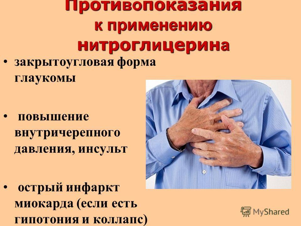 Проти во показан и я к применению н и трогл и церин а закрытоугловая форма глаукомы повышение внутричерепного давления, инсульт острый инфаркт миокарда (если есть гипотония и коллапс)