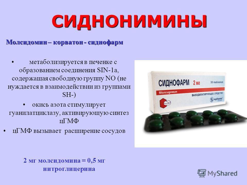 СИДНОНИМИНЫ Молсидомин – корватон - сиднофарм метаболизируется в печенке с образованием соединения SIN-1a, содержащая свободную группу NО (не нуждается в взаимодействии из группами SH-) окись азота стимулирует гуанилатциклазу, активирующую синтез цГМ