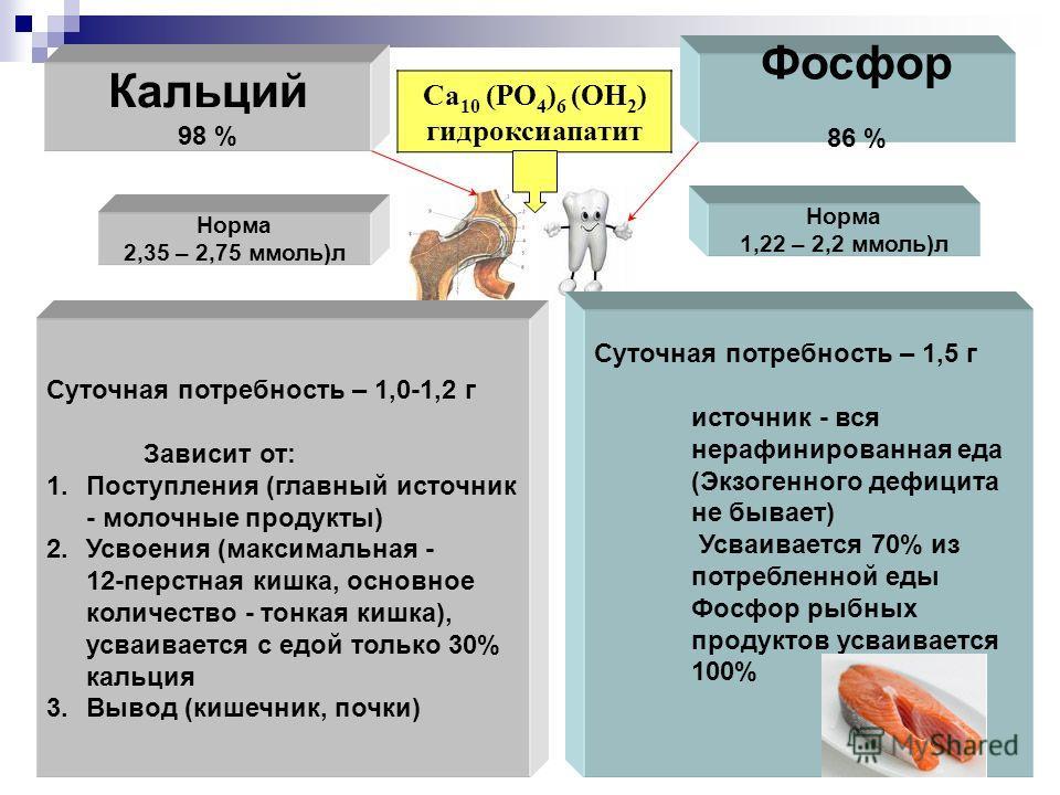 Кальций 98 % Фосфор 86 % Са 10 (РО 4 ) 6 (ОН 2 ) гидроксиапатит Норма 2,35 – 2,75 ммоль)л Норма 1,22 – 2,2 ммоль)л Суточная потребность – 1,0-1,2 г Зависит от: 1.Поступления (главный источник - молочные продукты) 2.Усвоения (максимальная - 12-перстна