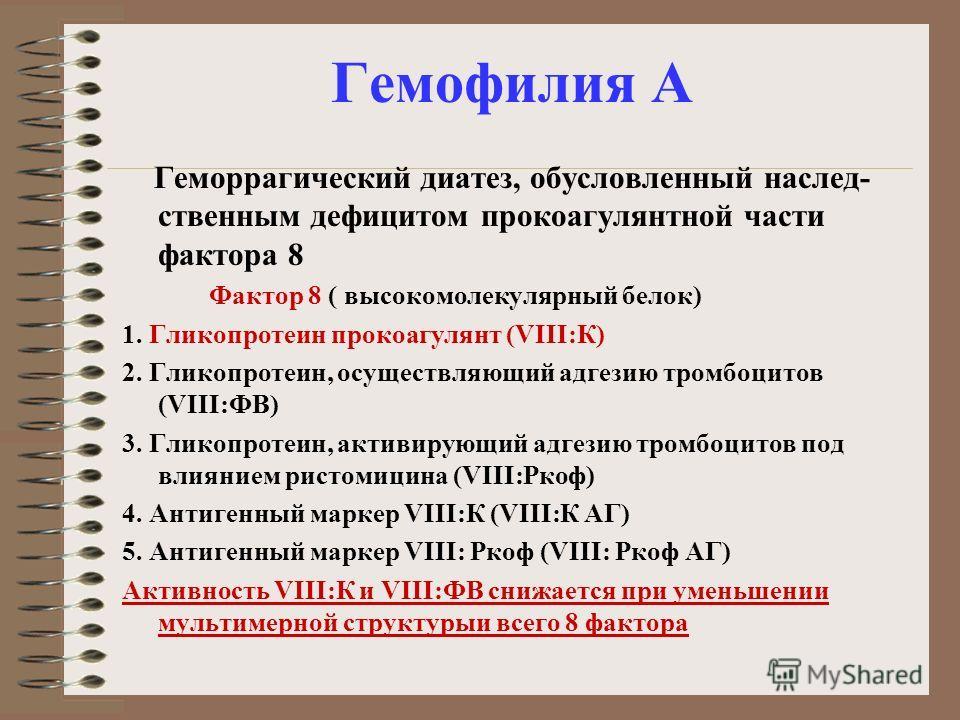 Гемофилия А Геморрагический диатез, обусловленный наслед- ственным дефицитом прокоагулянтной части фактора 8 Фактор 8 ( высокомолекулярный белок) 1. Гликопротеин прокоагулянт (VIII:К) 2. Гликопротеин, осуществляющий адгезию тромбоцитов (VIII:ФВ) 3. Г