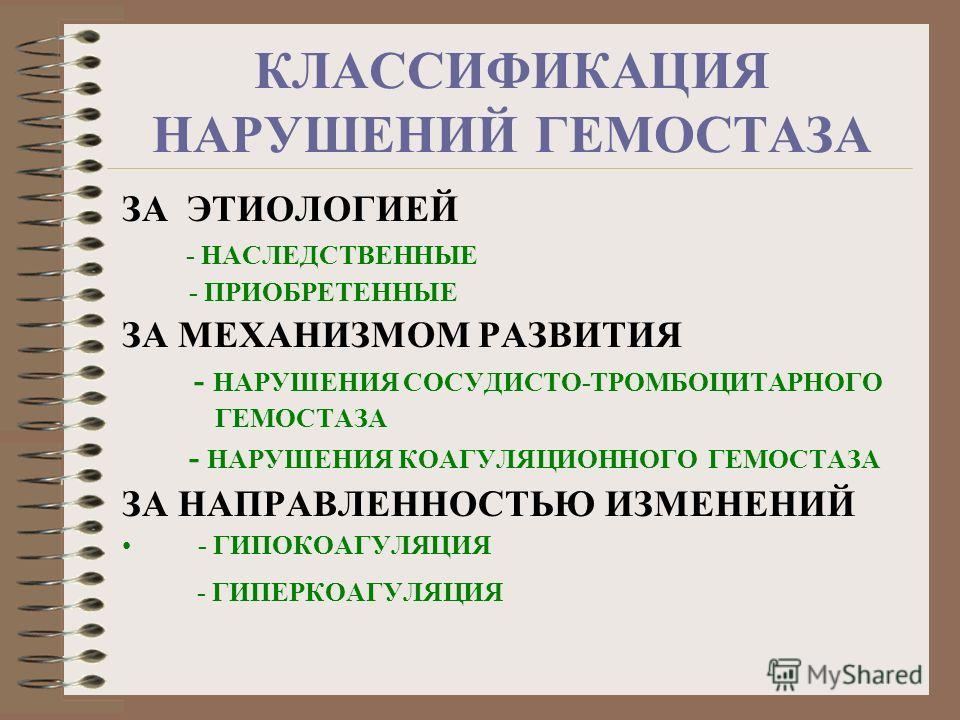 КЛАССИФИКАЦИЯ НАРУШЕНИЙ ГЕМОСТАЗА ЗА ЭТИОЛОГИЕЙ - НАСЛЕДСТВЕННЫЕ - ПРИОБРЕТЕННЫЕ ЗА МЕХАНИЗМОМ РАЗВИТИЯ - НАРУШЕНИЯ СОСУДИСТО-ТРОМБОЦИТАРНОГО ГЕМОСТАЗА - НАРУШЕНИЯ КОАГУЛЯЦИОННОГО ГЕМОСТАЗА ЗА НАПРАВЛЕННОСТЬЮ ИЗМЕНЕНИЙ - ГИПОКОАГУЛЯЦИЯ - ГИПЕРКОАГУЛЯ