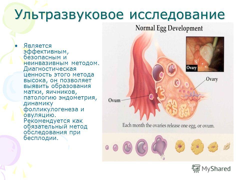 Ультразвуковое исследование Является эффективным, безопасным и неинвазивным методом. Диагностическая ценность этого метода высока, он позволяет выявить образования матки, яичников, патологию эндометрия, динамику фолликулогенеза и овуляцию. Рекомендуе