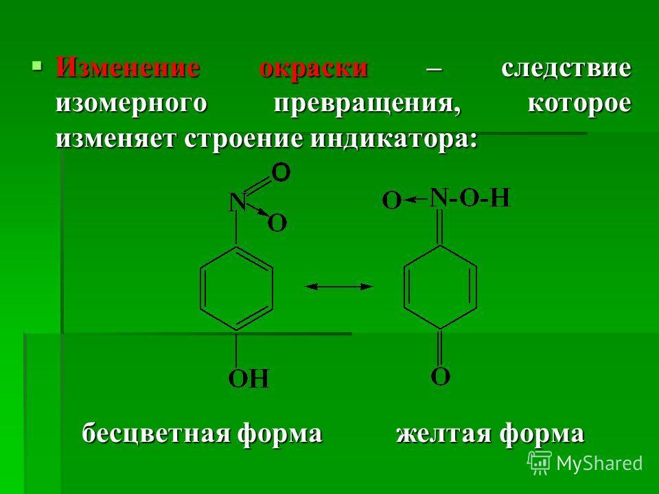 Изменение окраски – следствие изомерного превращения, которое изменяет строение индикатора: Изменение окраски – следствие изомерного превращения, которое изменяет строение индикатора: бесцветная форма желтая форма бесцветная форма желтая форма