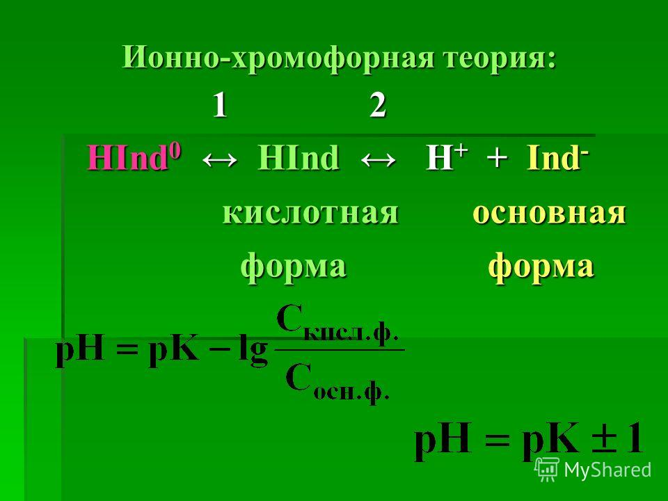 Ионно-хромофорная теория: 1 2 1 2 НІnd 0 HІnd H + + Ind - кислотная основная кислотная основная форма форма форма форма