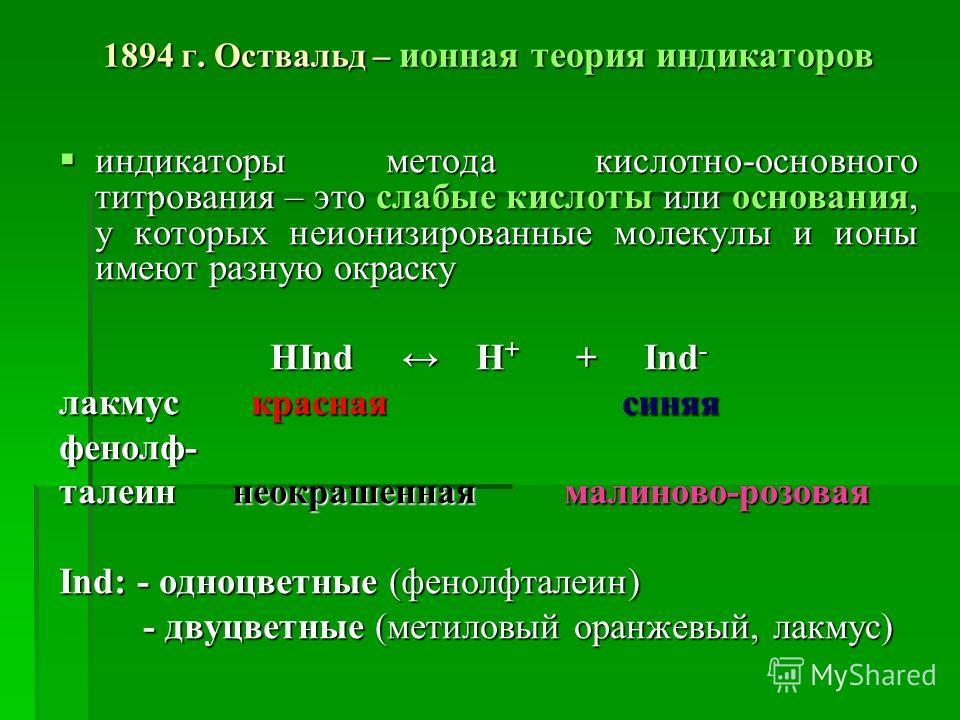 1894 г. Оствальд – ионная теория индикаторов индикаторы метода кислотно-основного титрования – это слабые кислоты или основания, у которых неионизированные молекулы и ионы имеют разную окраску индикаторы метода кислотно-основного титрования – это сла