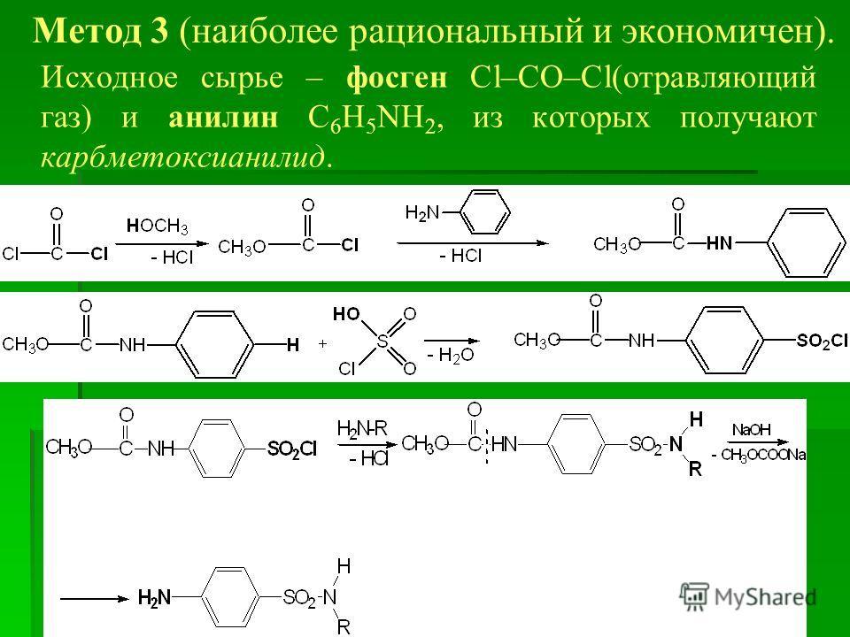 Метод 3 (наиболее рациональный и экономичен). Исходное сырье – фосген Cl–CO–Cl(отравляющий газ) и анилин C 6 H 5 NH 2, из которых получают карбметоксианилид.