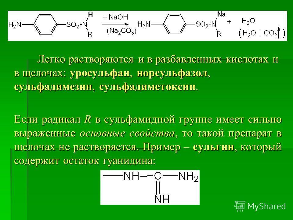 Легко растворяются и в разбавленных кислотах и в щелочах: уросульфан, норсульфазол, сульфадимезин, сульфадиметоксин. Легко растворяются и в разбавленных кислотах и в щелочах: уросульфан, норсульфазол, сульфадимезин, сульфадиметоксин. Если радикал R в