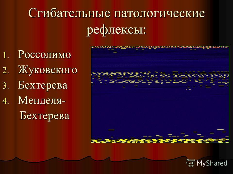 Сгибательные патологические рефлексы: 1. Россолимо 2. Жуковского 3. Бехтерева 4. Менделя- Бехтерева Бехтерева