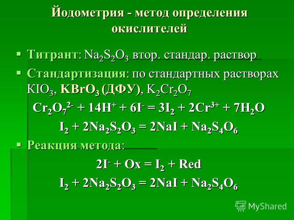 Йодометрия - метод определения окислителей Титрант: Na 2 S 2 O 3 втор. стандар. раствор Титрант: Na 2 S 2 O 3 втор. стандар. раствор Стандартизация: по стандартных растворах КІО 3, KBrO 3 (ДФУ), K 2 Cr 2 O 7 Стандартизация: по стандартных растворах К