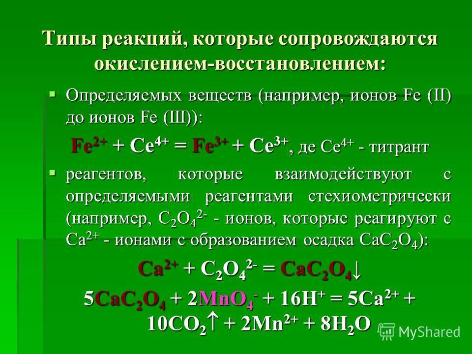 Типы реакций, которые сопровождаются окислением-восстановлением: Определяемых веществ (например, ионов Fe (II) до ионов Fe (III)): Определяемых веществ (например, ионов Fe (II) до ионов Fe (III)): Fe 2+ + Ce 4+ = Fe 3+ + Ce 3+, де Се 4+ - титрант реа
