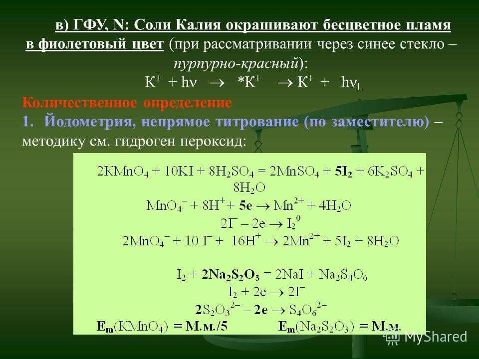 в) ГФУ, N: Соли Калия окрашивают бесцветное пламя в фиолетовый цвет (при рассматривании через синее стекло – пурпурно-красный): К + + h *К + К + + h 1 Количественное определение 1. Йодометрия, непрямое титрование (по заместителю) – методику см. гидро