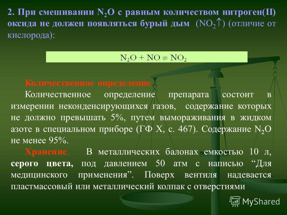 2. При смешивании N 2 O с равным количеством нитроген(II) оксида не должен появляться бурый дым (NO 2 ) (отличие от кислорода): Количественное определение Количественное определение препарата состоит в измерении неконденсирующихся газов, содержание к