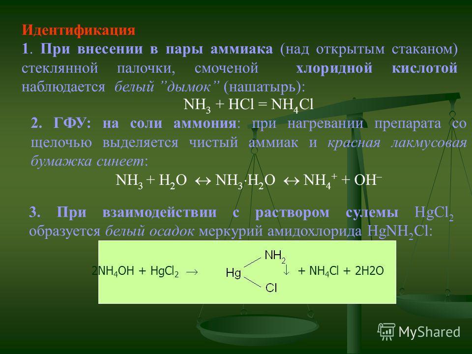 Идентификация 1. При внесении в пары аммиака (над открытым стаканом) стеклянной палочки, смоченой хлоридной кислотой наблюдается белый дымок (нашатырь): NH 3 + HCl = NH 4 Cl 2. ГФУ: на соли аммония: при нагревании препарата со щелочью выделяется чист