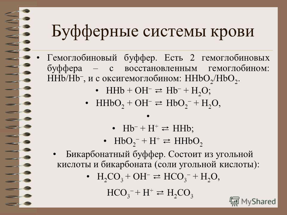 Буфферные системы крови Гемоглобиновый буффер. Есть 2 гемоглобиновых буффера – с восстановленным гемоглобином: ННb/Нb –, и с оксигемоглобином: НHbО 2 /HbO 2. НHb + ОН – Нb – + Н 2 О; НHbО 2 + ОН – НbО 2 – + Н 2 О, Нb – + Н + ННb; НbО 2 – + Н + ННbО 2