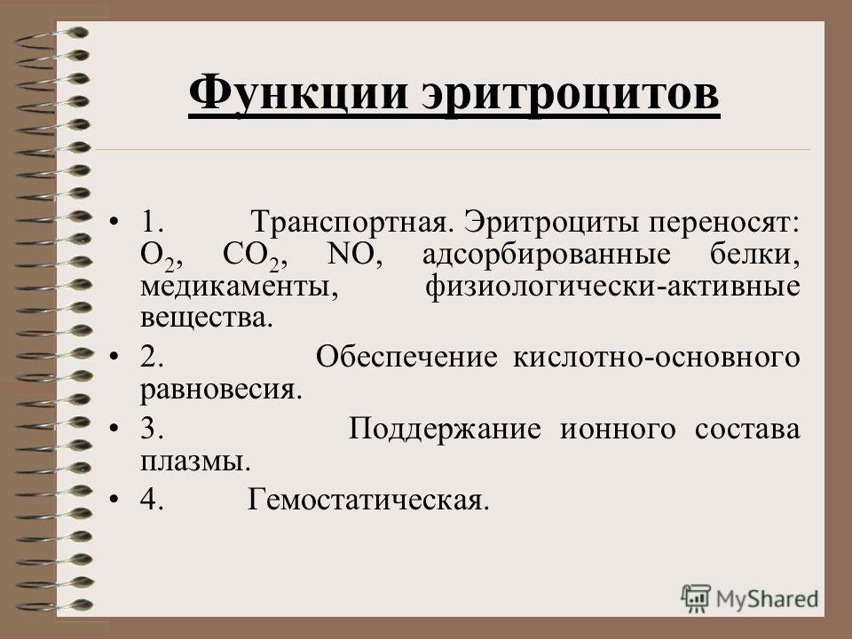 Функции эритроцитов 1. Транспортная. Эритроциты переносят: О 2, СО 2, NO, адсорбированные белки, медикаменты, физиологически-активные вещества. 2. Обеспечение кислотно-основного равновесия. 3. Поддержание ионного состава плазмы. 4. Гемостатическая.