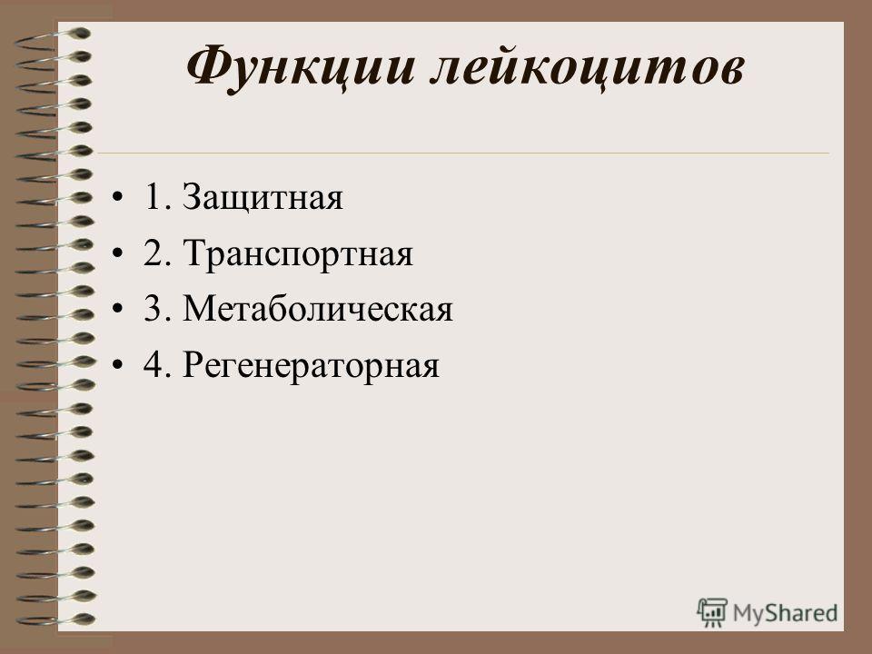 Функции лейкоцитов 1. Защитная 2. Транспортная 3. Метаболическая 4. Регенераторная