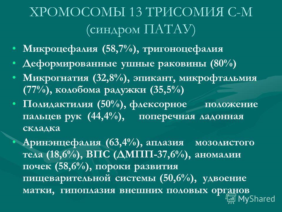 ХРОМОСОМЫ 13 ТРИСОМИЯ C-M (синдром ПАТАУ) Микроцефалия (58,7%), тригоноцефалия Деформированные ушные раковины (80%) Микрогнатия (32,8%), эпикант, микрофтальмия (77%), колобома радужки (35,5%) Полидактилия (50%), флексорное положение пальцев рук (44,4