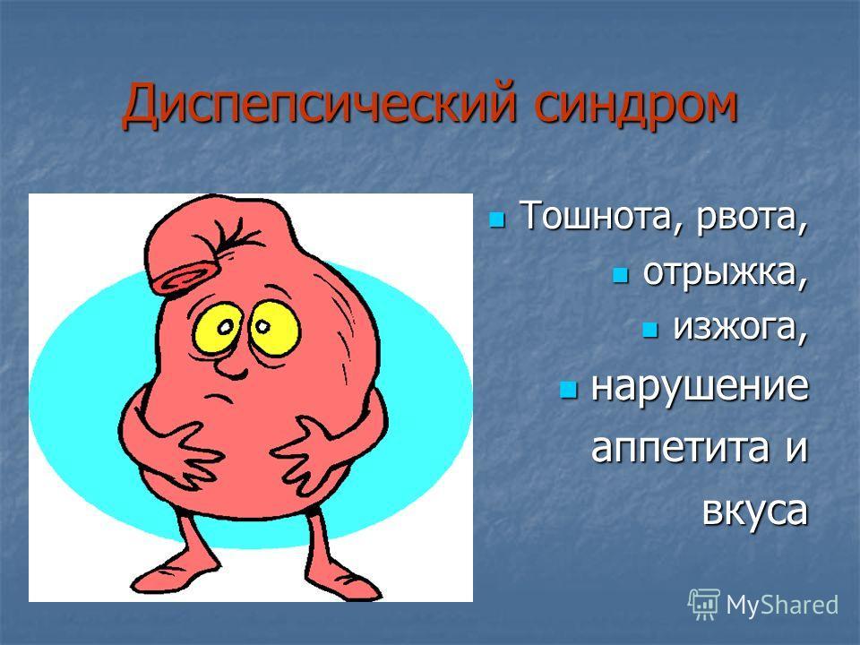 Диспепсический синдром Тошнота, рвота, Тошнота, рвота, отрыжка, отрыжка, изжога, изжога, нарушение нарушение аппетита и вкуса