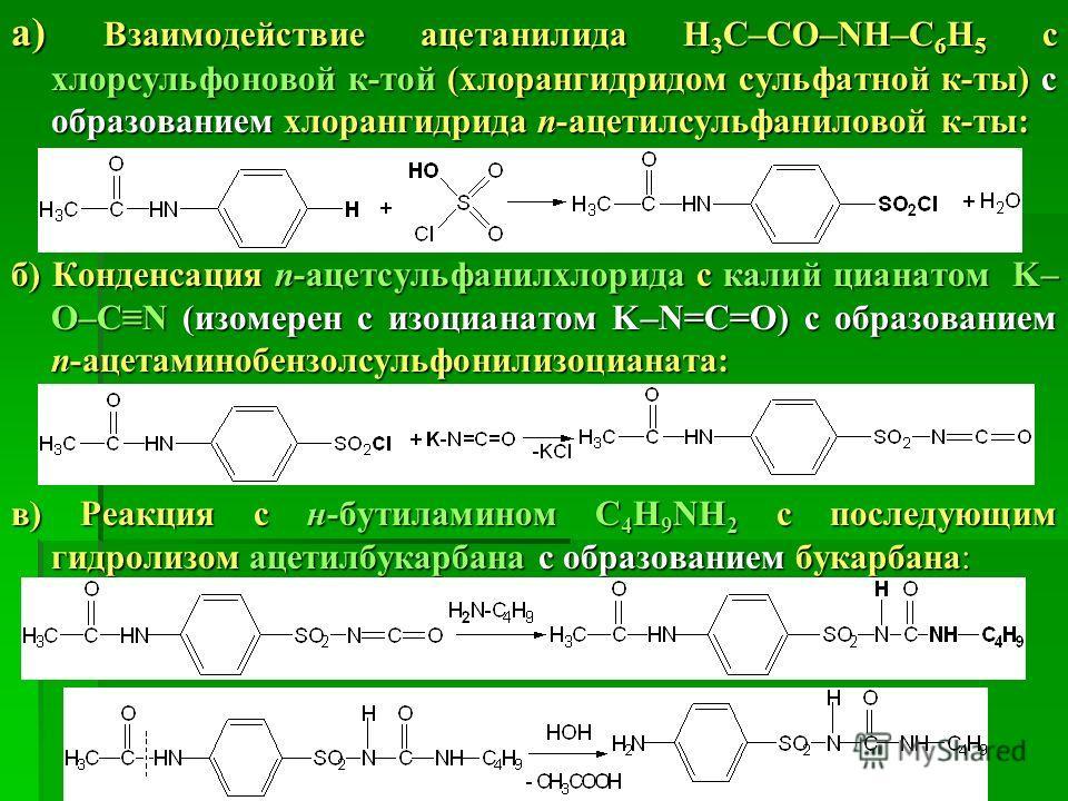 а) Взаимодействие ацетанилида Н 3 С–СО–NH–С 6 Н 5 с хлорсульфоновой к-той (хлорангидридом сульфатной к-ты) с образованием хлорангидрида п-ацетилсульфаниловой к-ты: б) Конденсация п-aцетсульфанилхлорида с калий цианатом K– O–CN (изомерен с изоцианатом