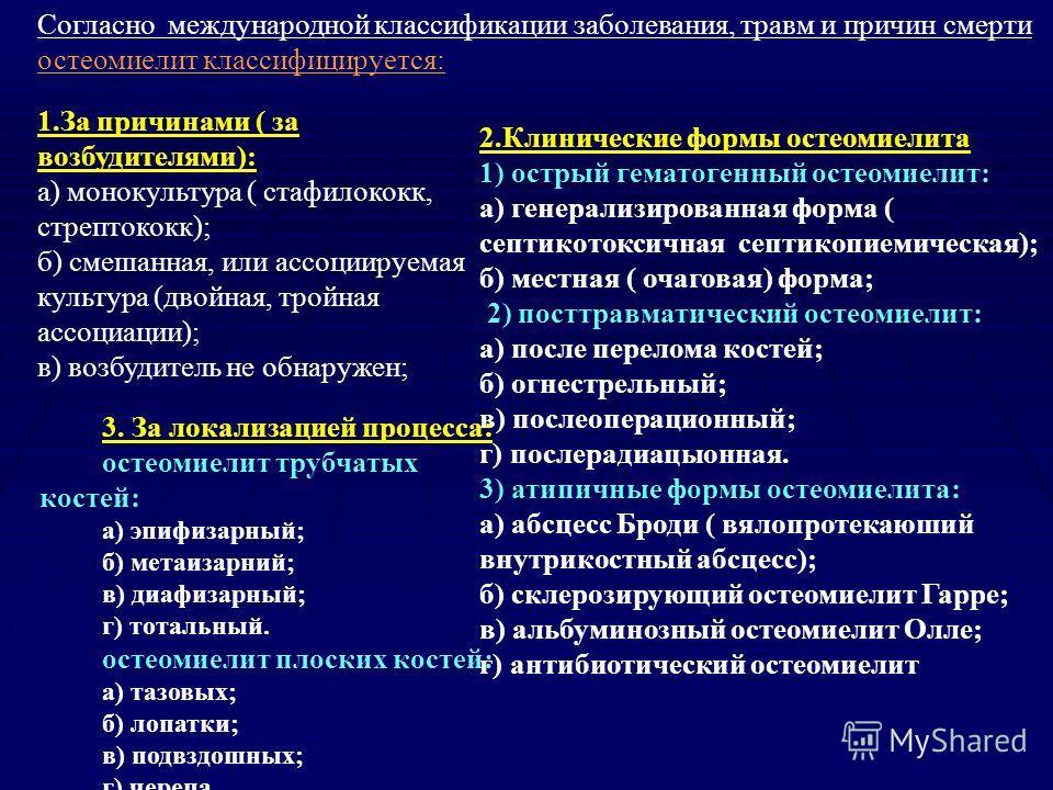 Согласно международной классификации заболевания, травм и причин смерти остеомиелит классифицируется: 1.За причинами ( за возбудителями): а) монокультура ( стафилококк, стрептококк); б) смешанная, или ассоциируемая культура (двойная, тройная ассоциац