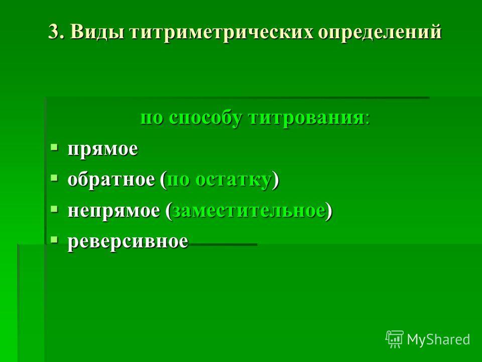 3. Виды титриметрических определений по способу титрования: прямое прямое обратное (по остатку) обратное (по остатку) непрямое (заместительное) непрямое (заместительное) реверсивное реверсивное