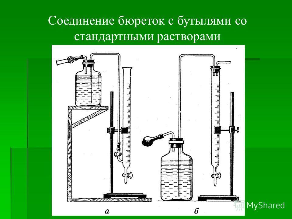 Соединение бюреток с бутылями со стандартными растворами