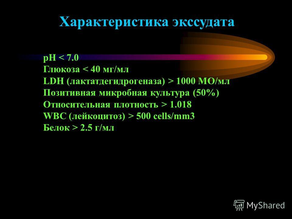 pH 1000 МО/мл Позитивная микробная культура (50%) Относительная плотность > 1.018 WBC (лейкоцитоз) > 500 cells/mm3 Белок > 2.5 г/мл Характеристика экссудата