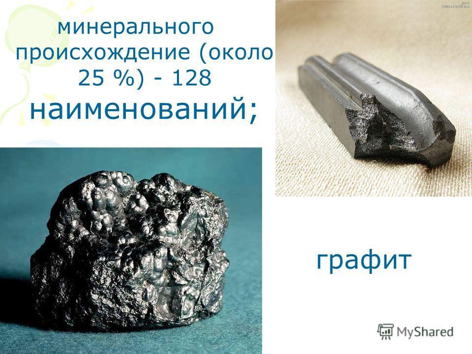минерального происхождение (около 25 %) - 128 наименований; графит