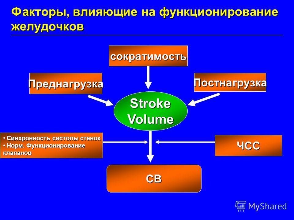 StrokeVolume ПреднагрузкаПостнагрузка сократимость СВ ЧСС Факторы, влияющие на функционирование желудочков Синхронность систолы стенокСинхронность систолы стенок Норм. ФункционированиеНорм. Функционированиеклапанов