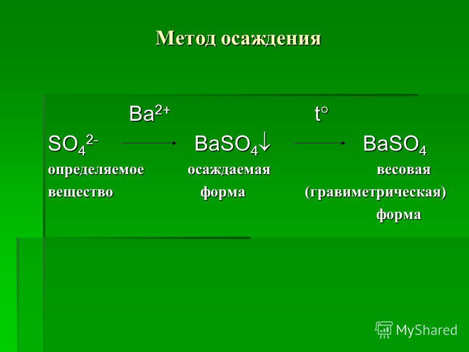 Метод осаждения Ba 2+ t Ba 2+ t SO 4 2- BaSO 4 BaSO 4 определяемое осаждаемая весовая вещество форма (гравиметрическая) форма