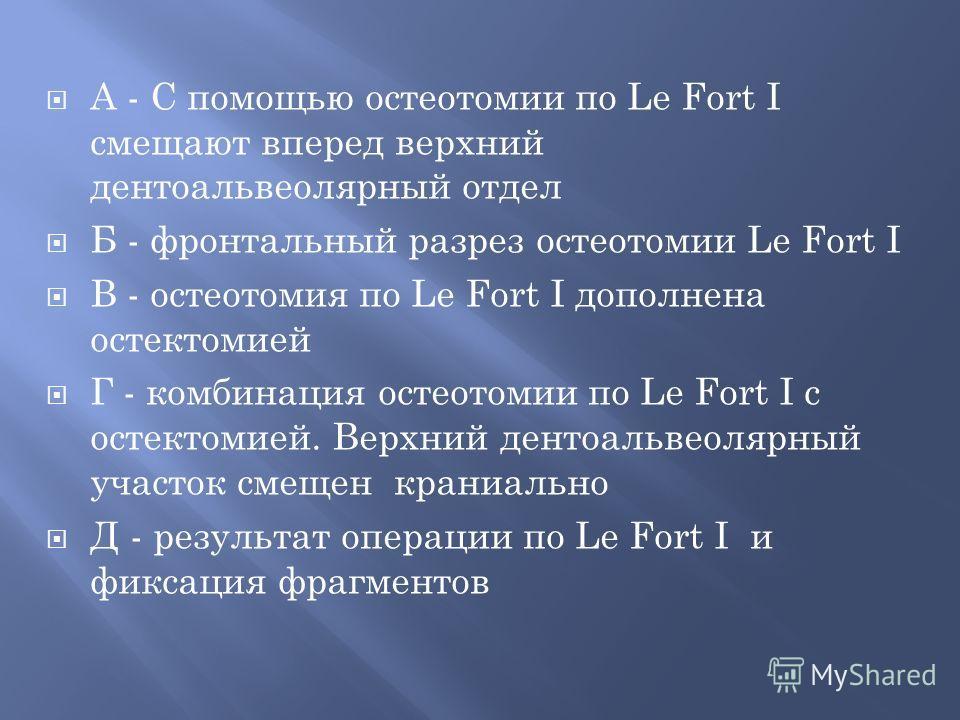 А - С помощью остеотомии по Le Fort I смещают вперед верхний дентоальвеолярный отдел Б - фронтальный разрез остеотомии Le Fort I В - остеотомия по Le Fort I дополнена остектомией Г - комбинация остеотомии по Le Fort I с остектомией. Верхний дентоальв