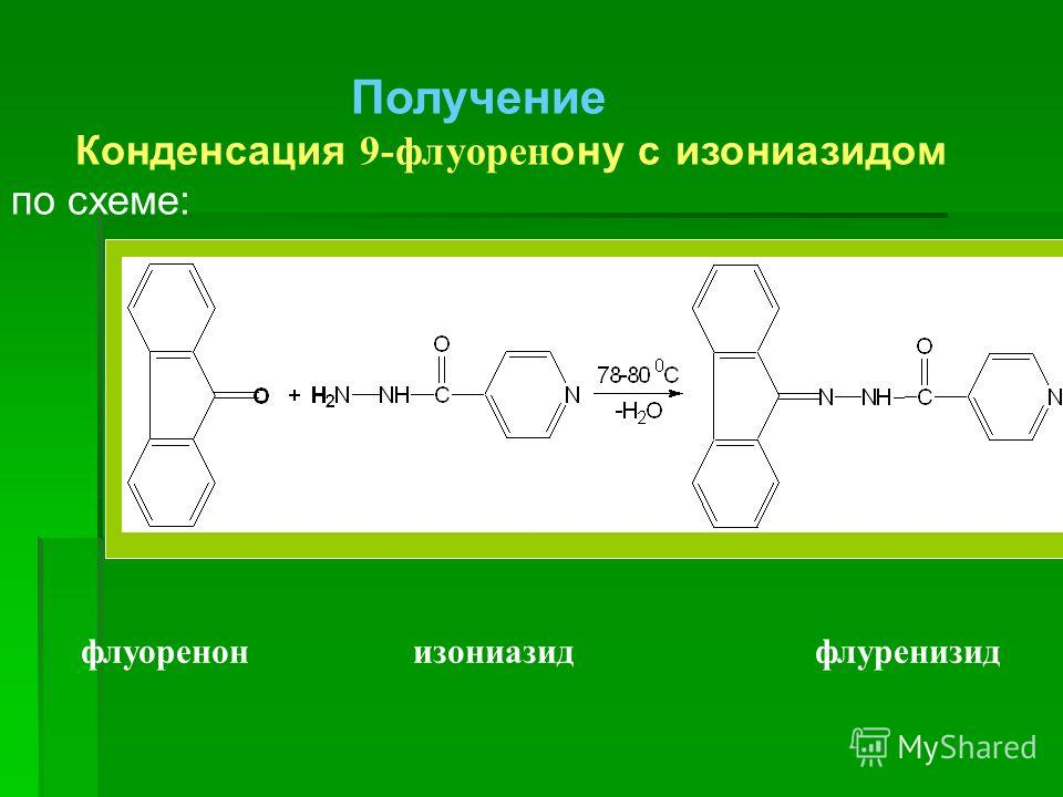Получение Конденсация 9-флуорен ону с изониазидом по схеме: флуоренон изониазид флуренизид