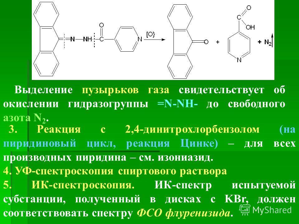 Выделение пузырьков газа свидетельствует об окислении гидразогруппы =N-NH- до свободного азота N 2. 3. Реакция с 2,4-динитрохлорбензолом (на пиридиновый цикл, реакция Цинке) – для всех производных пиридина – см. изониазид. 4. УФ-спектроскопия спиртов