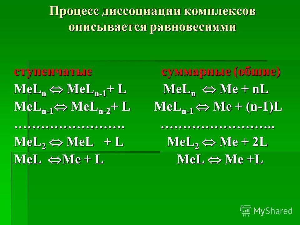 Процесс диссоциации комплексов описывается равновесиями ступенчатые суммарные (общие) MeL n MeL n-1 + L MeL n Me + nL MeL n-1 MeL n-2 + L МeL n-1 Me + (n-1)L ……………………. …………………….. MeL 2 MeL + L MeL 2 Me + 2L MeL Me + L MeL Me +L