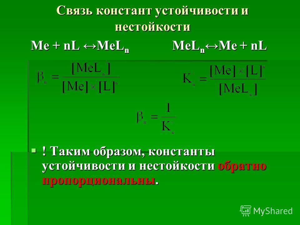 Связь констант устойчивости и нестойкости Me + nL MeL n MeL n Me + nL ! Таким образом, константы устойчивости и нестойкости обратно пропорциональны. ! Таким образом, константы устойчивости и нестойкости обратно пропорциональны.