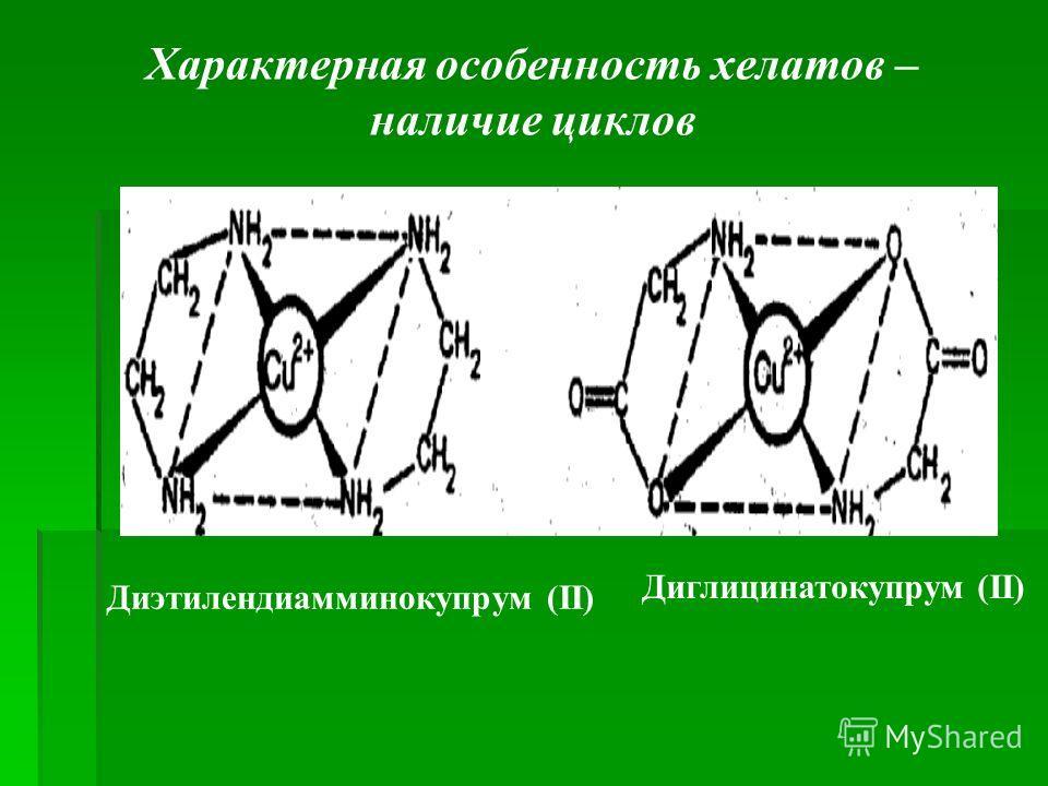 Характерная особенность хелатов – наличие циклов Диэтилендиамминокупрум (ІІ) Диглицинатокупрум (ІІ)