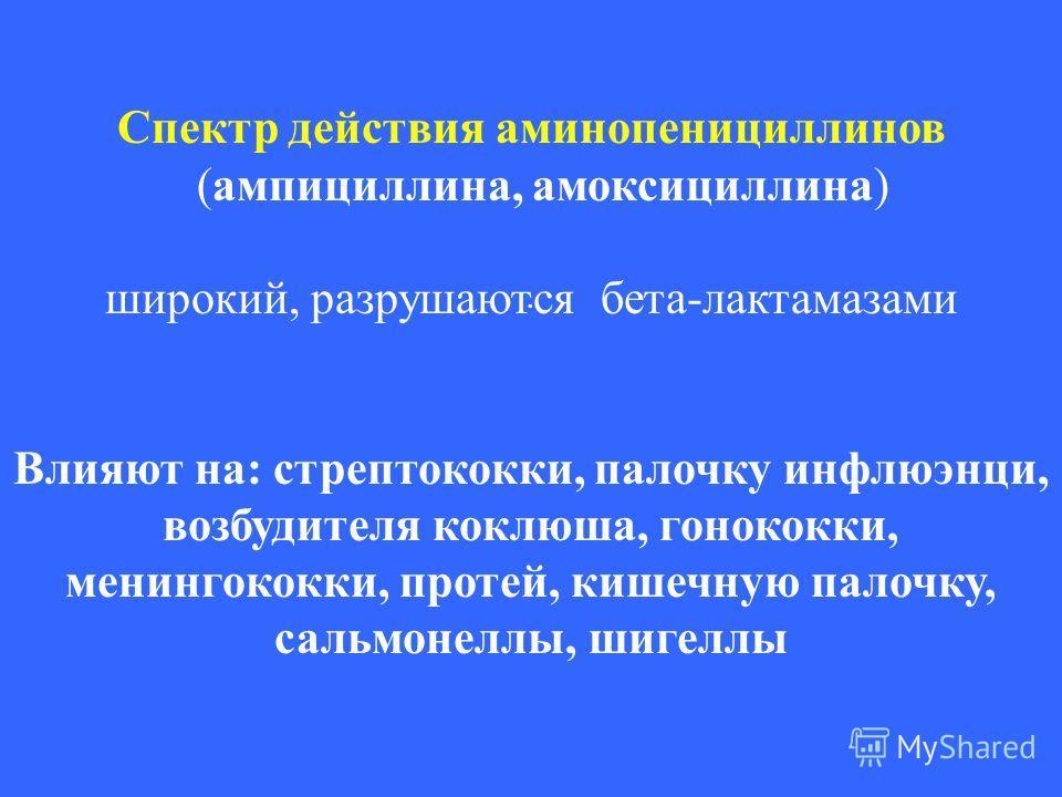 . Спектр действия аминопенициллинов (ампициллина, амоксициллина) широкий, разрушаются бета-лактамазами Влияют на: стрептококки, палочку инфлюэнци, возбудителя коклюша, гонококки, менингококки, протей, кишечную палочку, сальмонеллы, шигеллы