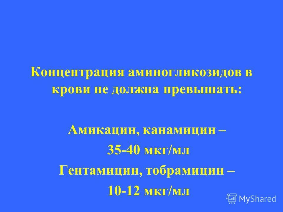 Концентрация аминогликозидов в крови не должна превышать: Амикацин, канамицин – 35-40 мкг/мл Гентамицин, тобрамицин – 10-12 мкг/мл