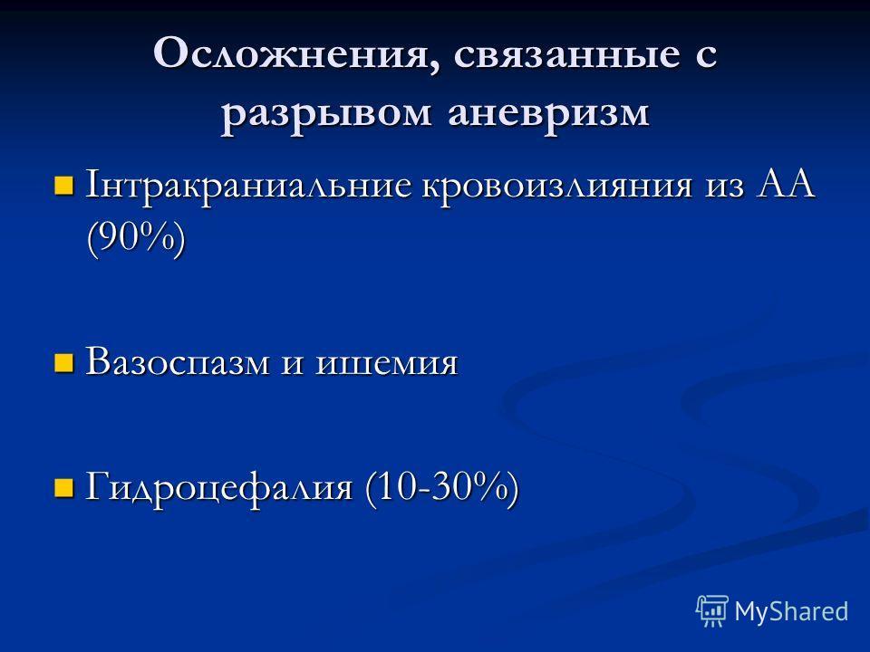 Осложнения, связанные с разрывом аневризм Інтракраниальние кровоизлияния из АА (90%) Інтракраниальние кровоизлияния из АА (90%) Вазоспазм и ишемия Вазоспазм и ишемия Гидроцефалия (10-30%) Гидроцефалия (10-30%)