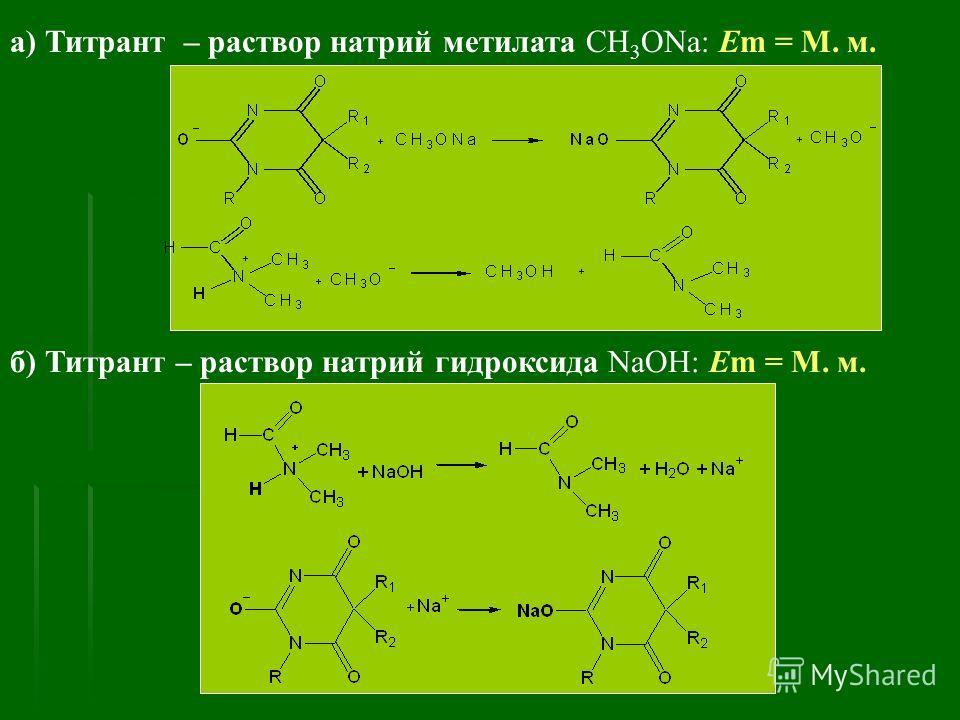 а) Титрант – раствор натрий метилата CH 3 ONa: Em = М. м. б) Титрант – раствор натрий гидроксида NaOH: Em = М. м.