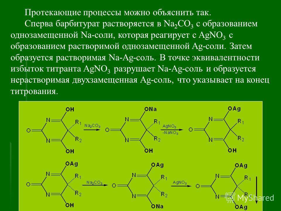 Протекающие процессы можно объяснить так. Сперва барбитурат растворяется в Na 2 CO 3 с образованием однозамещенной Na-соли, которая реагирует с AgNO 3 с образованием растворимой однозамещенной Ag-соли. Затем образуется растворимая Na-Ag-соль. В точке
